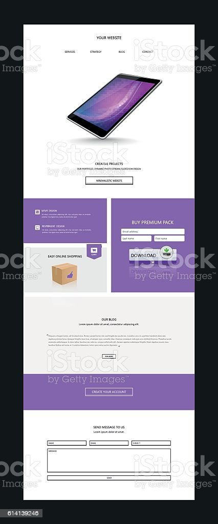 one page website design template with abstract header design html