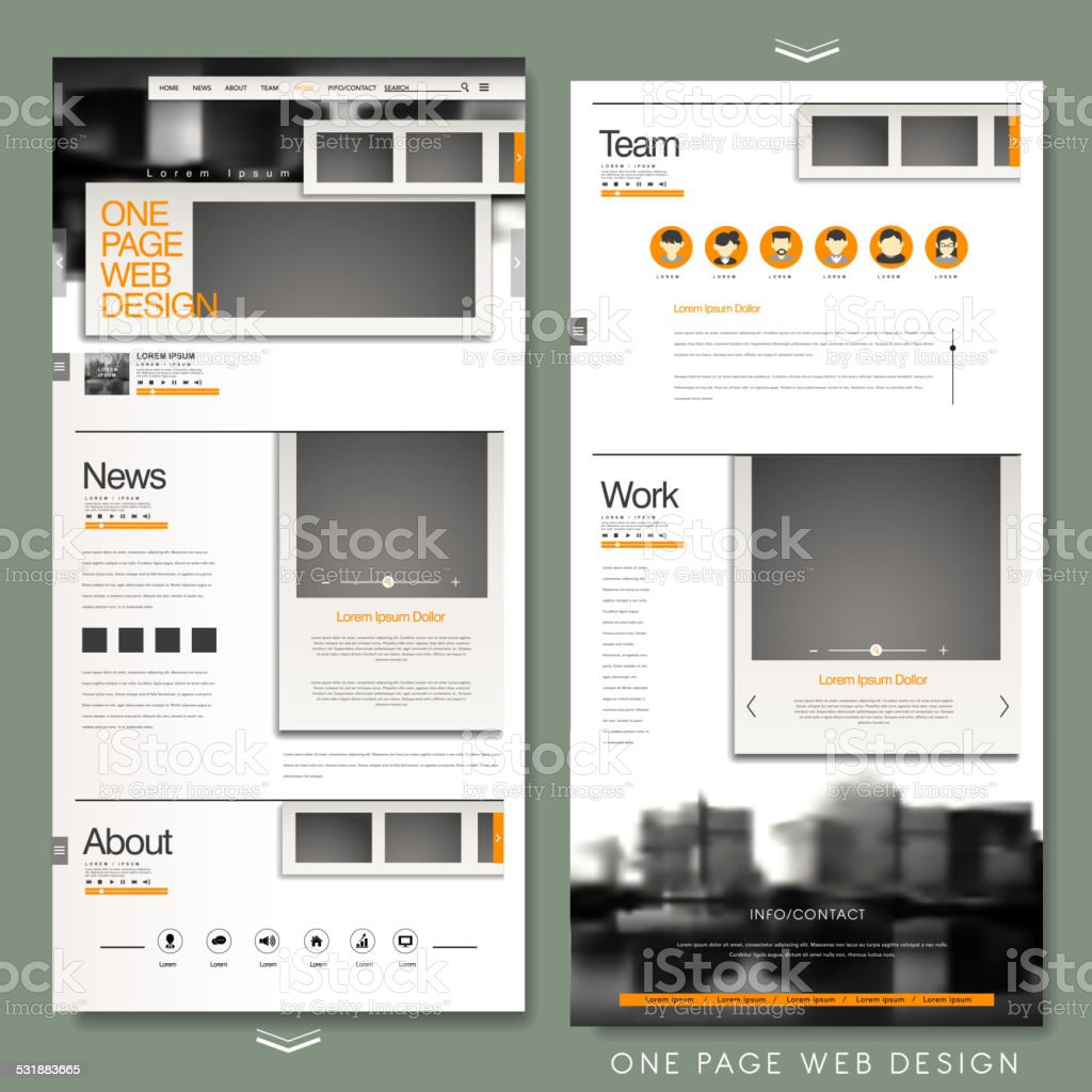 one page website template design vector art illustration