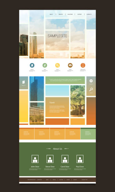 One Page Website Template, Different Header Designs Global Business, Tall Office Building, Cityscape Panorama, Worldwide Financial Connections - Modern Colorful Abstract Web Site Creative Design Template Layout with Cityscape - Illustration for Your Business or Personal Blog - Freely Scalable and Editable Vector Format Included website design stock illustrations