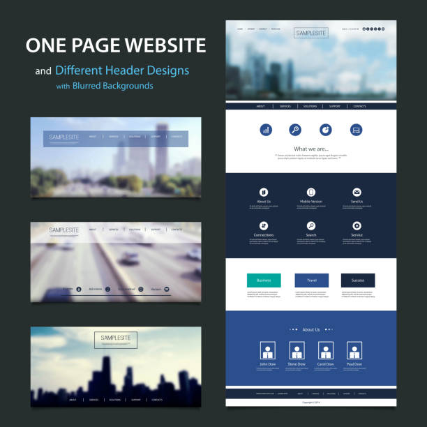 One Page Website Template, Different Header Designs with Blurred Backgrounds Urban Life, Cityscape Skyline, Building, Highway, Mobility - Modern Colorful Abstract Web Site, Flat UI or UX Layout Creative Design Template - User Interface, Icon, Label and Button Designs - Element Set for Your IT, Tech Business, Home Page or Blog - Illustration inFreely Scalable and Editable Vector Format website design stock illustrations