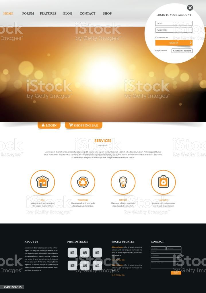 One Page Website Template Simple And Clean Design With Blurred