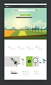 One Page Website Template with flat countryside illustration.