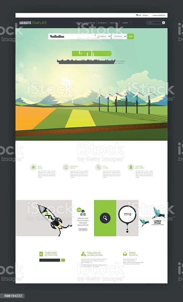One Page Website Template with flat countryside illustration. vector art illustration