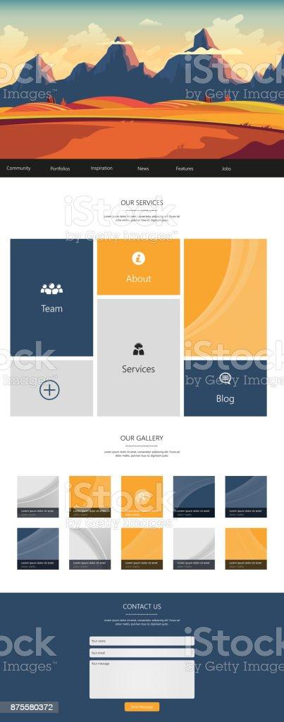 One Page Website Template with Landscape Header - illustrazione arte vettoriale