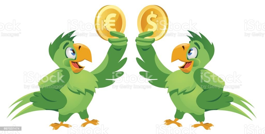 One Parrot Holding Dollar Symbol And Another Parrot Holding Euro