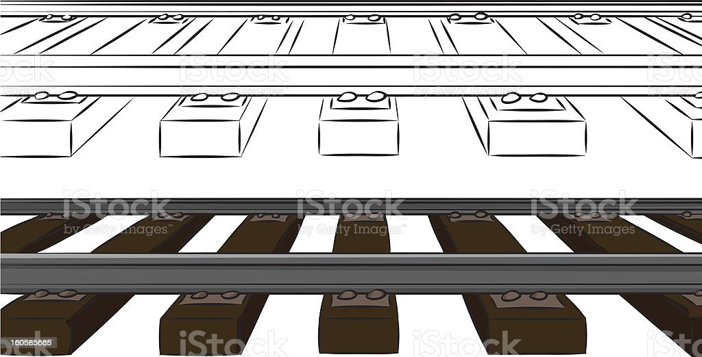 One Point Railroad Tracks royalty-free stock vector art