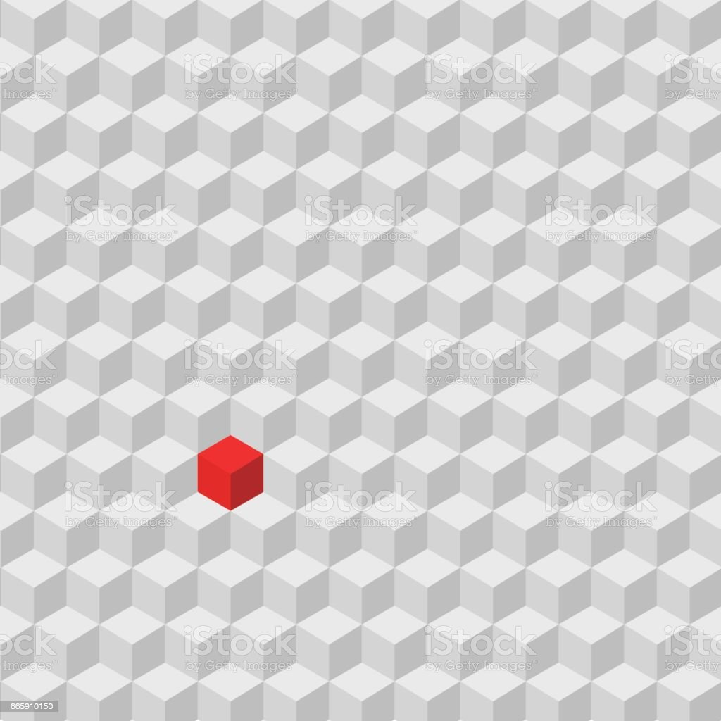 one red cube standing among the crowd of gray cube, difference concept vector art illustration