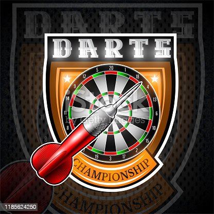 istock One red darts with round target in center of shield. Sport label for any darts game or championship 1185624250