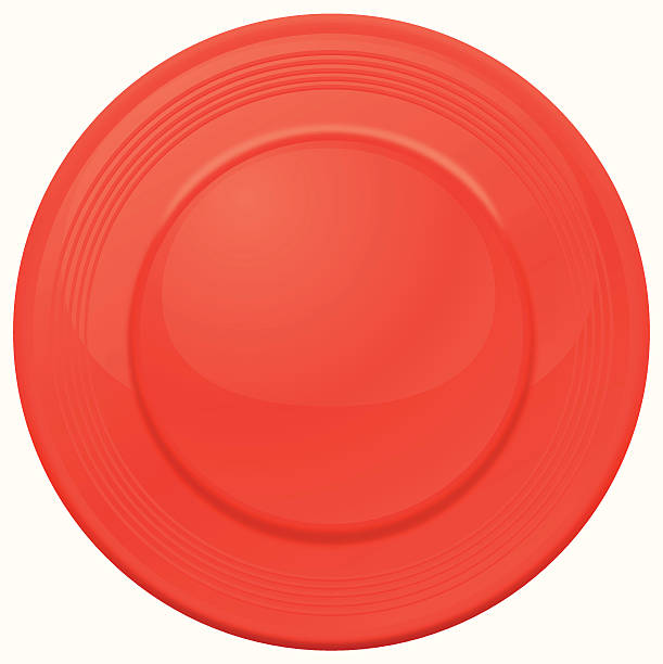 One red frisbee seen from above on a white background vector art illustration