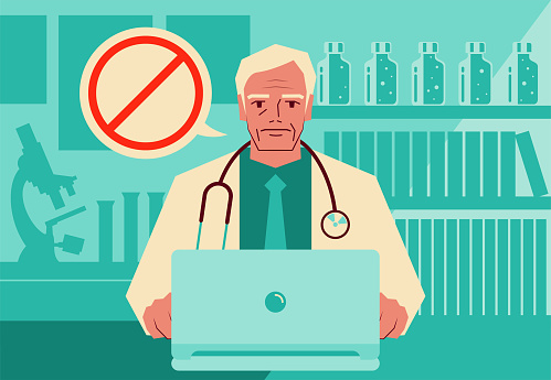 One senior doctor using a laptop providing telemedicine services and advising patients to avoid something with a forbidden sign