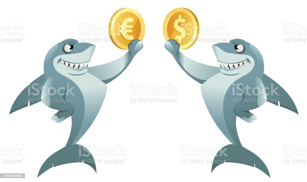 One shark holding dollar symbol and another shark holding euro symbol vector art illustration
