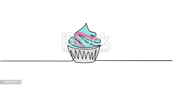 istock One single line drawing of sweet muffin cake. Delicious cupcake shop menu and restaurant badge concept. Sweet pastry online shop logo vector illustration. Modern hand draw design cookies 1255537514