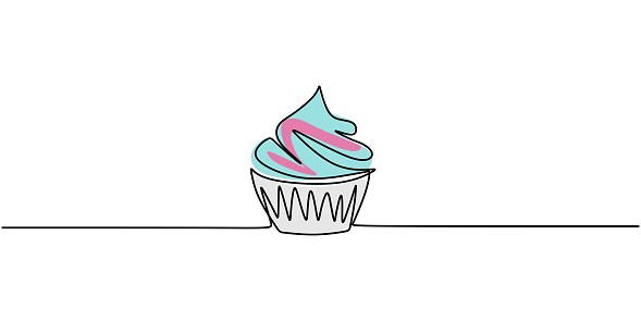 One single line drawing of sweet muffin cake. Delicious cupcake shop menu and restaurant badge concept. Sweet pastry online shop logo vector illustration. Modern hand draw design cookies