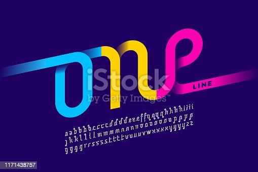 One line style font design, single continuous line alphabet, vector illustration