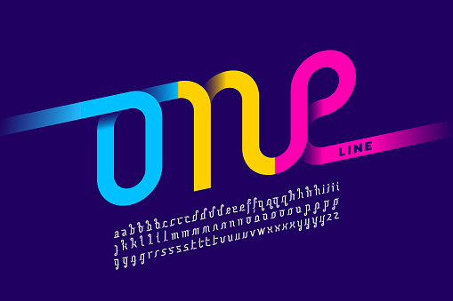 One single line font clipart