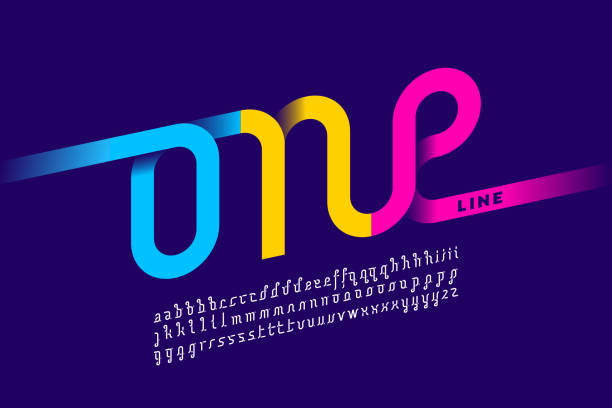 One single line font One line style font design, single continuous line alphabet, vector illustration single object stock illustrations