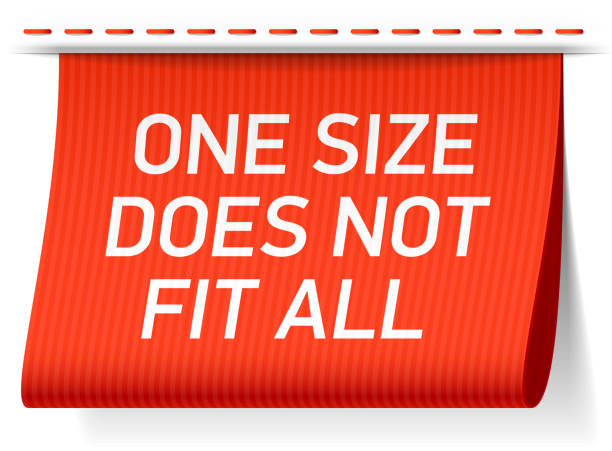 one size does not fit all label - single object stock illustrations