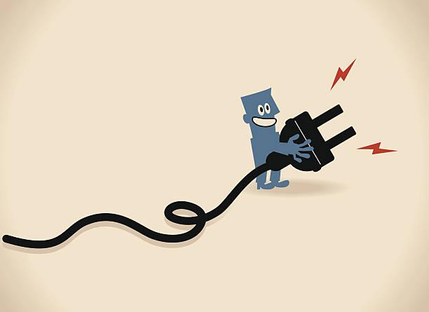 illustrations, cliparts, dessins animés et icônes de un homme d'affaires souriant femmes d'affaires () diffusant une prise électrique - rallonge électrique