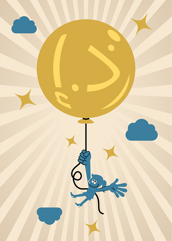 One smiling businesswoman holding a full balloon that has a money sign (United Arab Emirates Currency) and flying in the sky