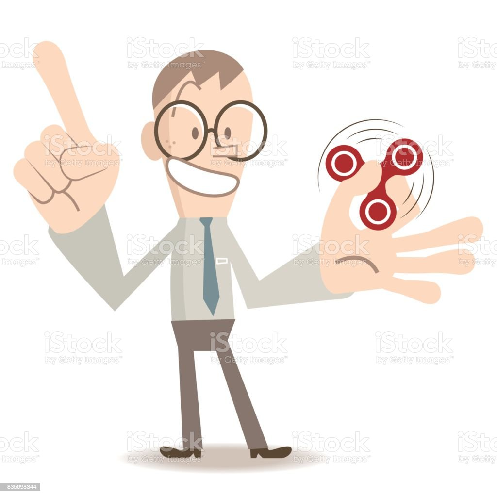 One smiling man with eyeglasses (young adult, businessman) showing, teaching, playing, spinning Fidget Spinner game, index finger pointing upward vector art illustration
