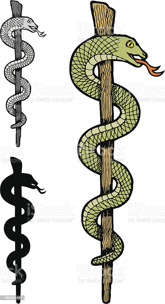 One snake caduceus royalty-free stock vector art