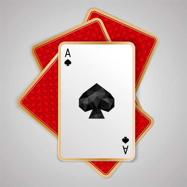 ein pik ass in vier spielkarten. pokerhand zu gewinnen - kartenspielen stock-grafiken, -clipart, -cartoons und -symbole