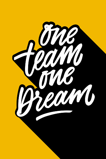 One team one dream motivational phrase. Hand written quote, brush lettering. White letters on yellow background. Team building concept vector illustration.