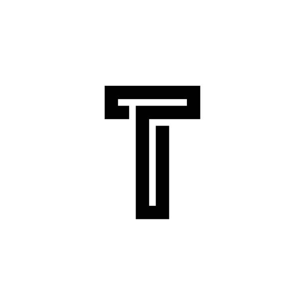 One Thick Line Letter Logotype T vector art illustration