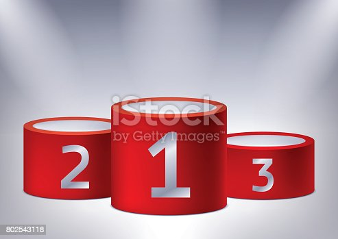 istock One, two, three. Awards on the illuminated podium, award red pedestals, vector design for you project 802543118