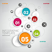 One two three four five, Circle shape vector icons for five steps with text or description, vector infographic