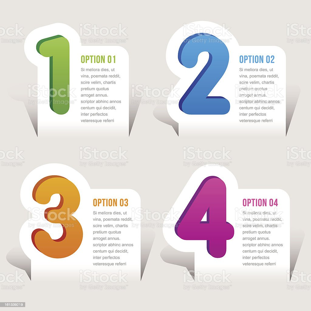 one, two, three, four options - Vector graphic design vector art illustration