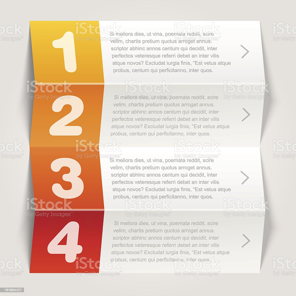 one, two, three, four options - Vector graphic design royalty-free stock vector art