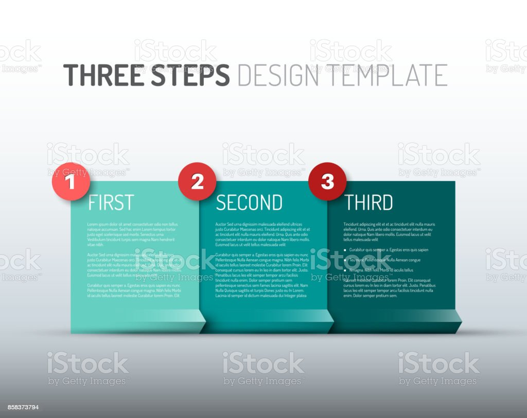 One two three - vector paper progress steps / options vector art illustration