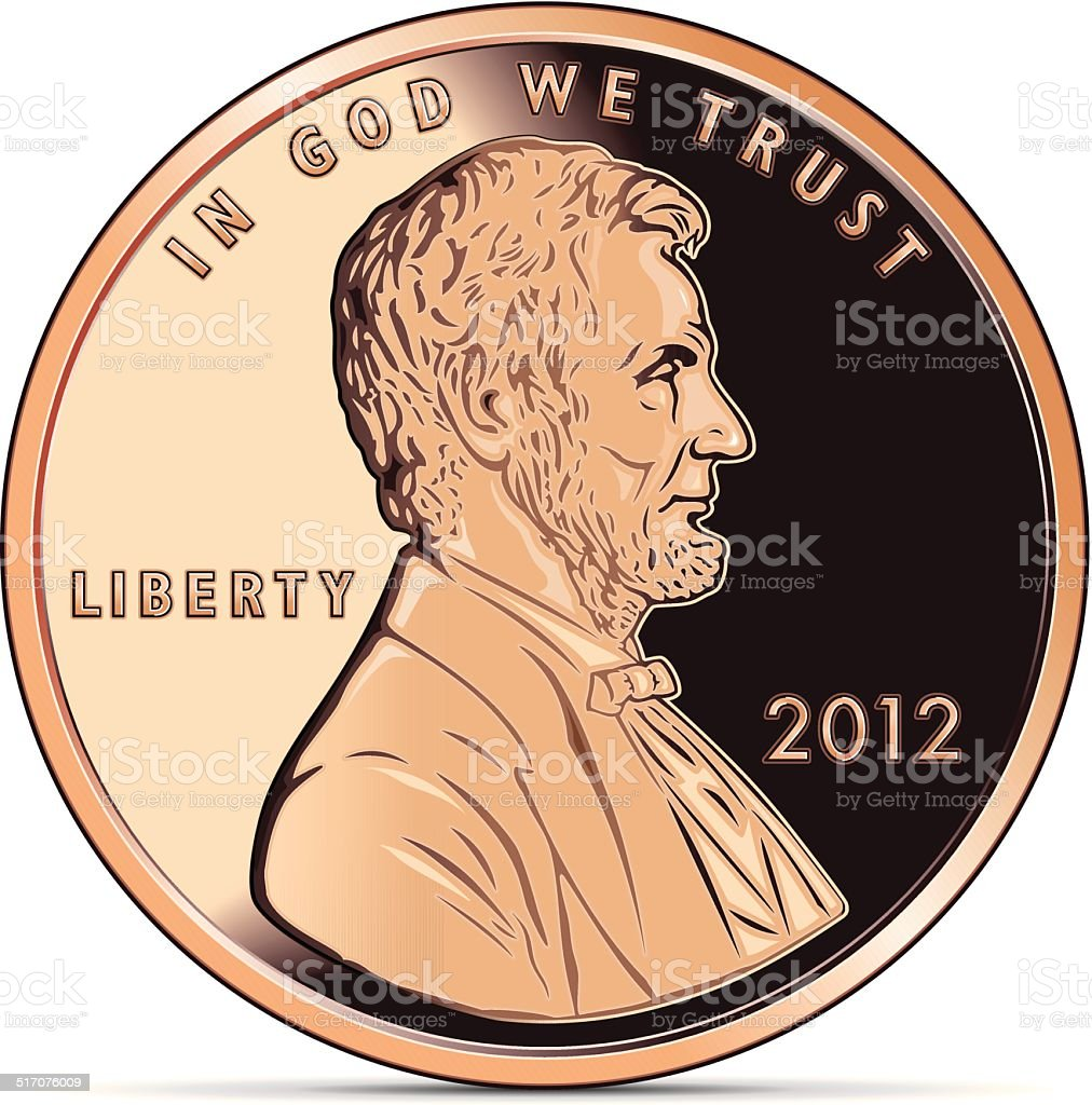 One US cent coin depicting Abraham Lincoln vector art illustration