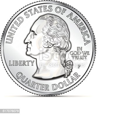 istock One US quarter coin depicting George Washington 517076079