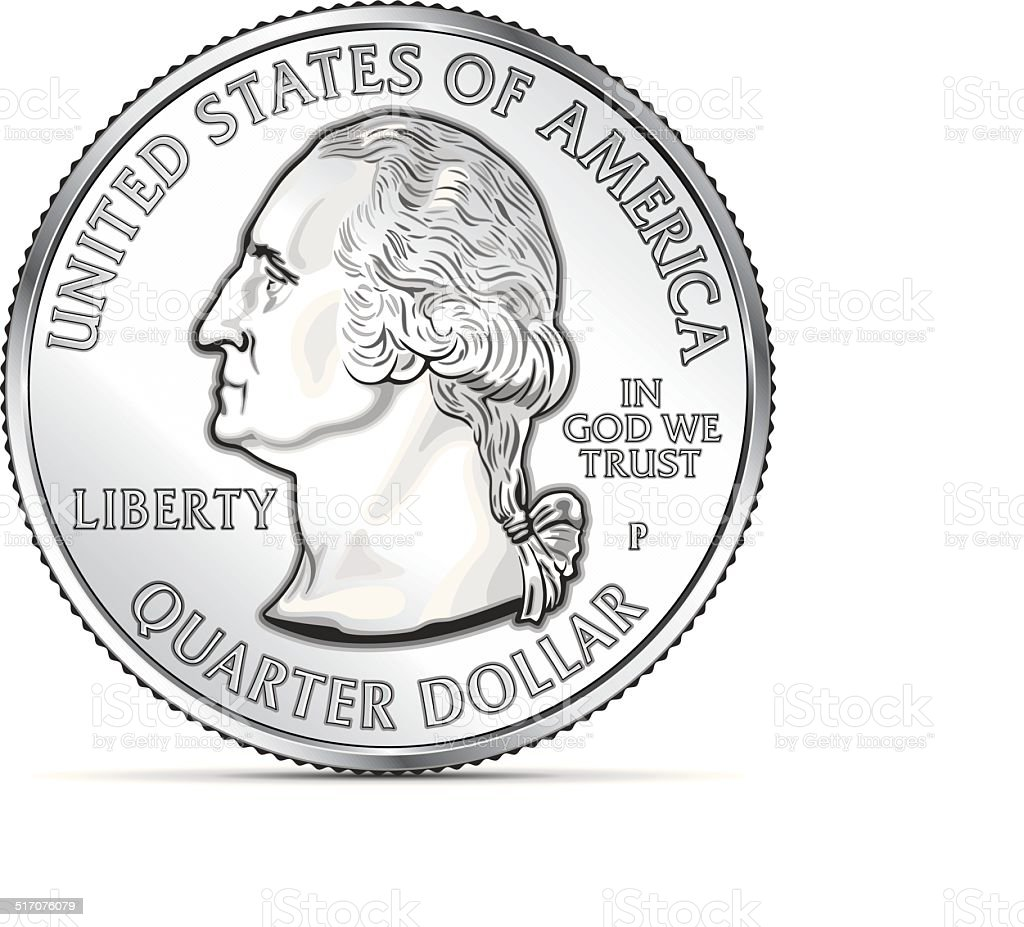 One US quarter coin depicting George Washington vector art illustration