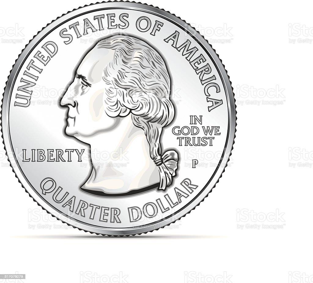 One US quarter coin depicting George Washington vector art illustration