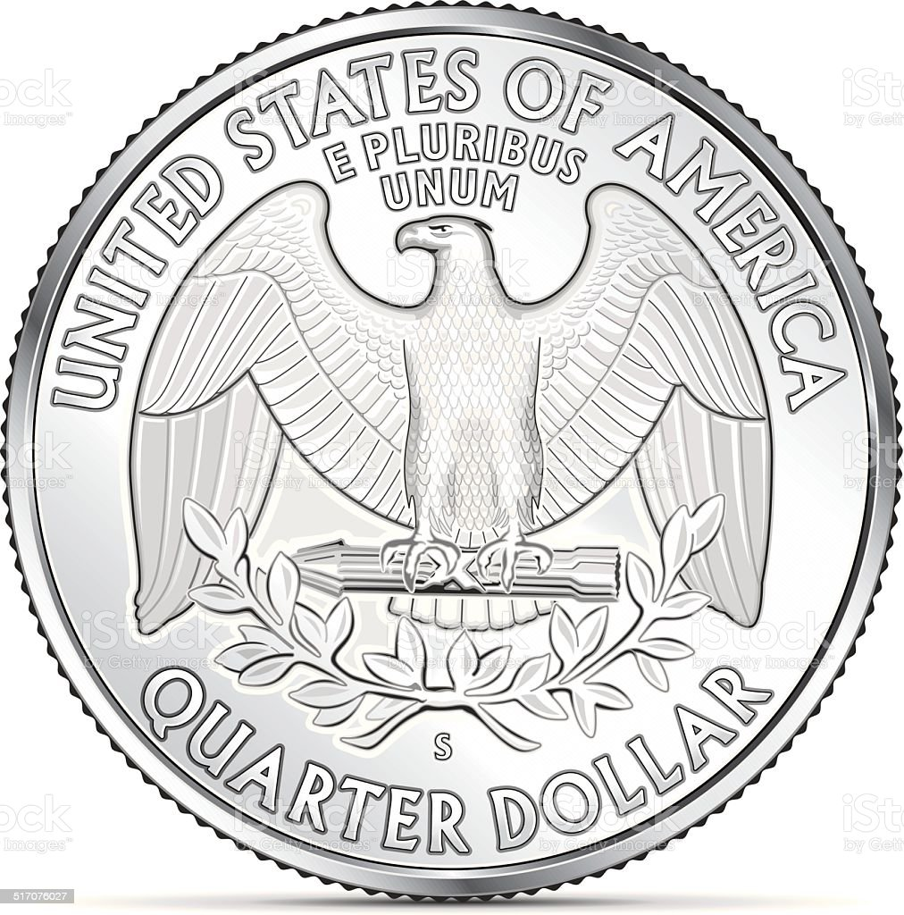 One US quarter coin depicting the american eagle