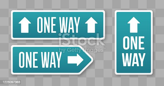 One way one direction movement arrow shape signs.