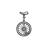 One wheel bicycle hand drawn sketch icon