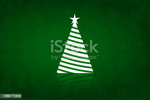 istock One white coloured triangle shaped striped Christmas tree over a dark emerald green color glittering glossy xmas backgrounds with a star at the top and reflection at the bottom 1286772333