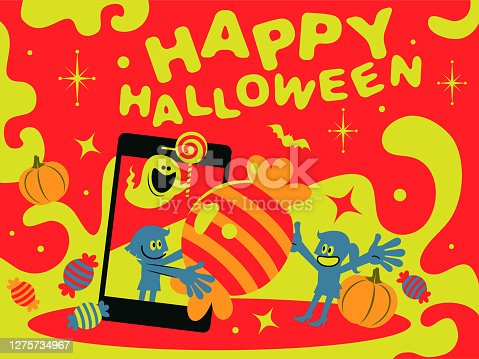 istock One woman (girl) and ghost are coming out of a big smart phone and giving candy to another woman (girl) on halloween horror nights 1275734967