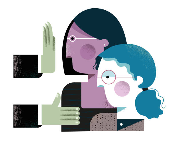 One woman being accepted while another one is being rejected One woman is being accepted and offered to shake hands while another woman of a different color is being rejected. recruiter stock illustrations