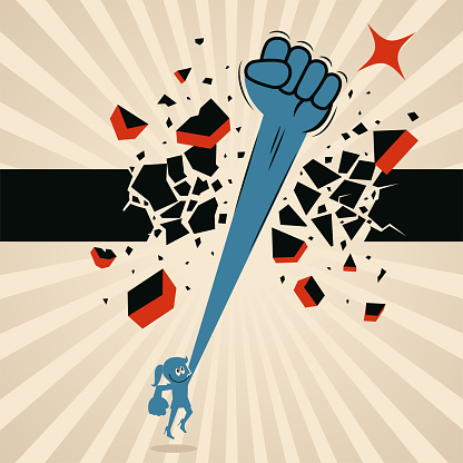 Blue Characters Vector Art Illustration. One woman (businesswoman, female leader) punches and breaks through a ceiling wall with her powerful fist, breakthrough, and revolution, conquering adversity and breaking the rules concept.