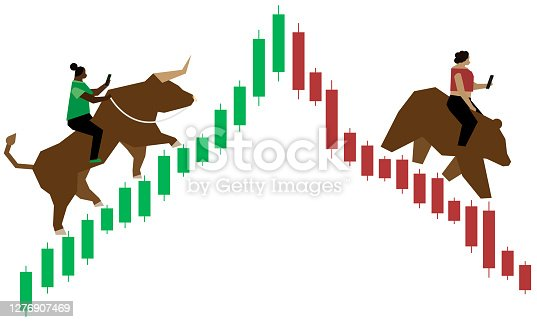 2 BIPOC women of color are depicted trading stocks on their smartphones while one rides a bull up a green bullish (upward trending) Japanese Candlestick style stock chart and the other is riding a bear down a red bearish (downward trending) Japanese Candlestick style stock chart.