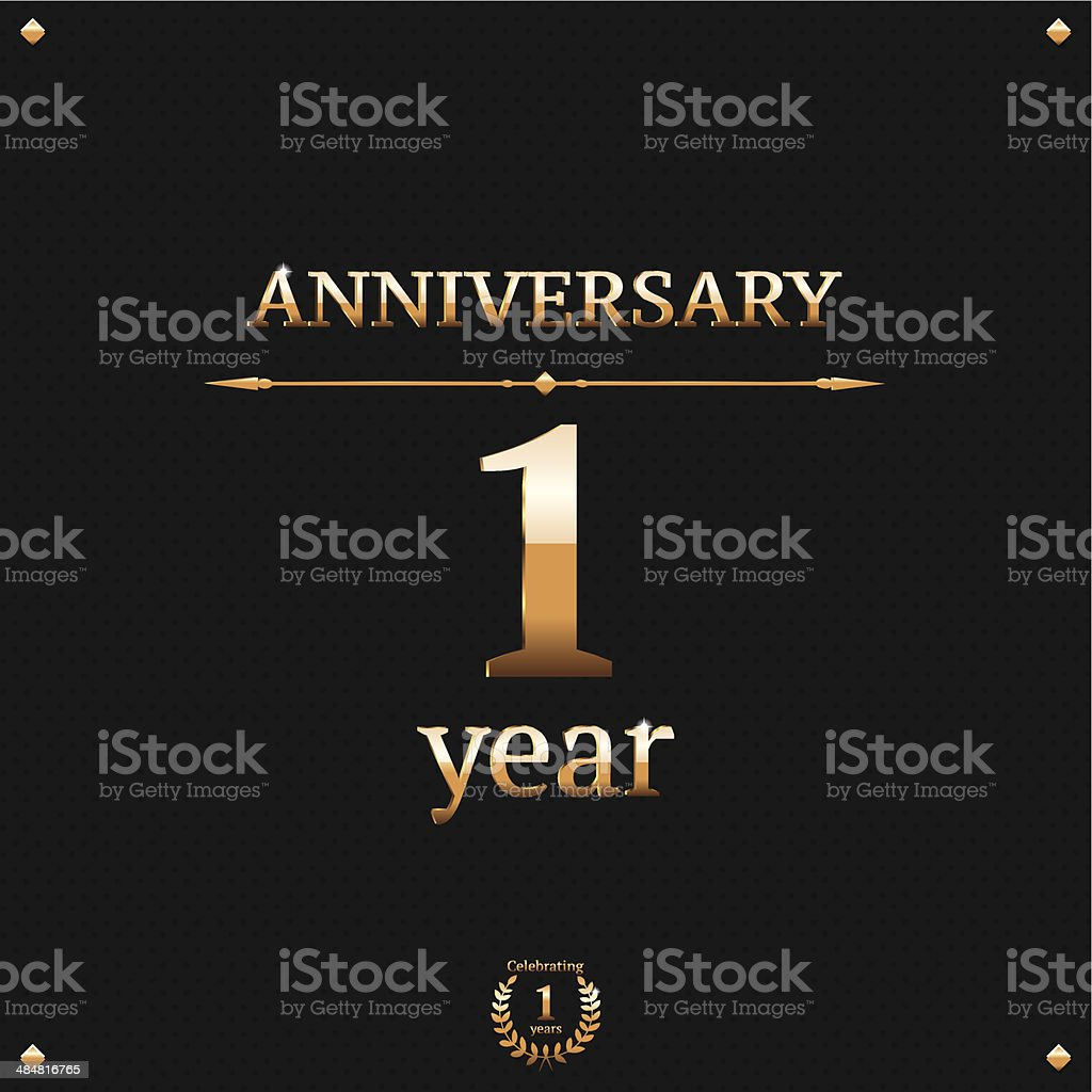 One year anniversary card royalty-free stock vector art