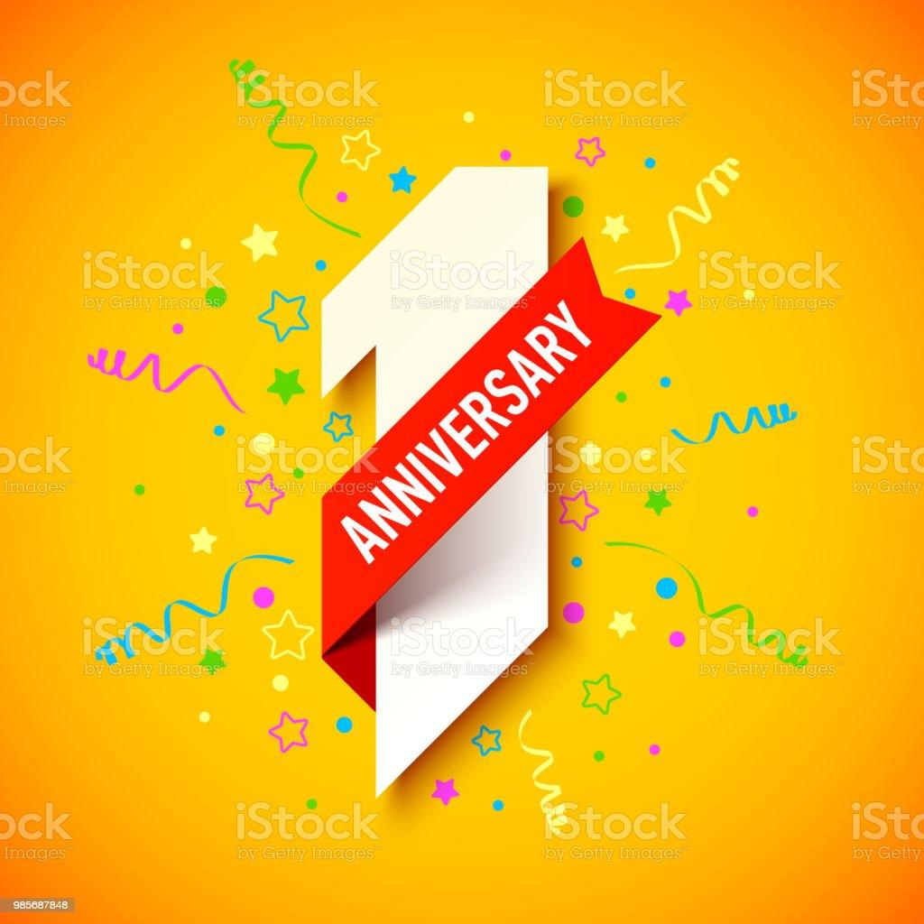 One year anniversary celebration vector art illustration