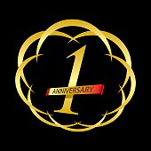 one year anniversary creative concept vector