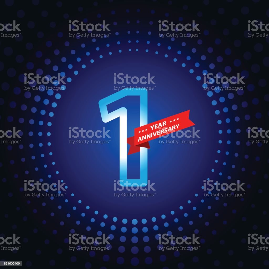 One year anniversary icon with blue color background vector art illustration