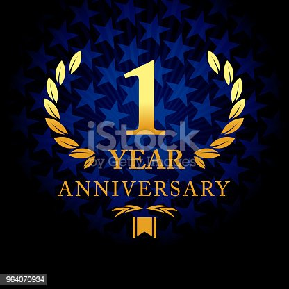 Vector of one year anniversary icon with blue color star shape background